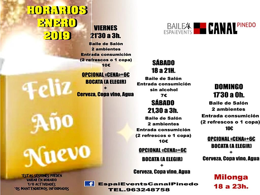 HORARIOS SESIONES BAILE de SALÓN  ENERO-2019